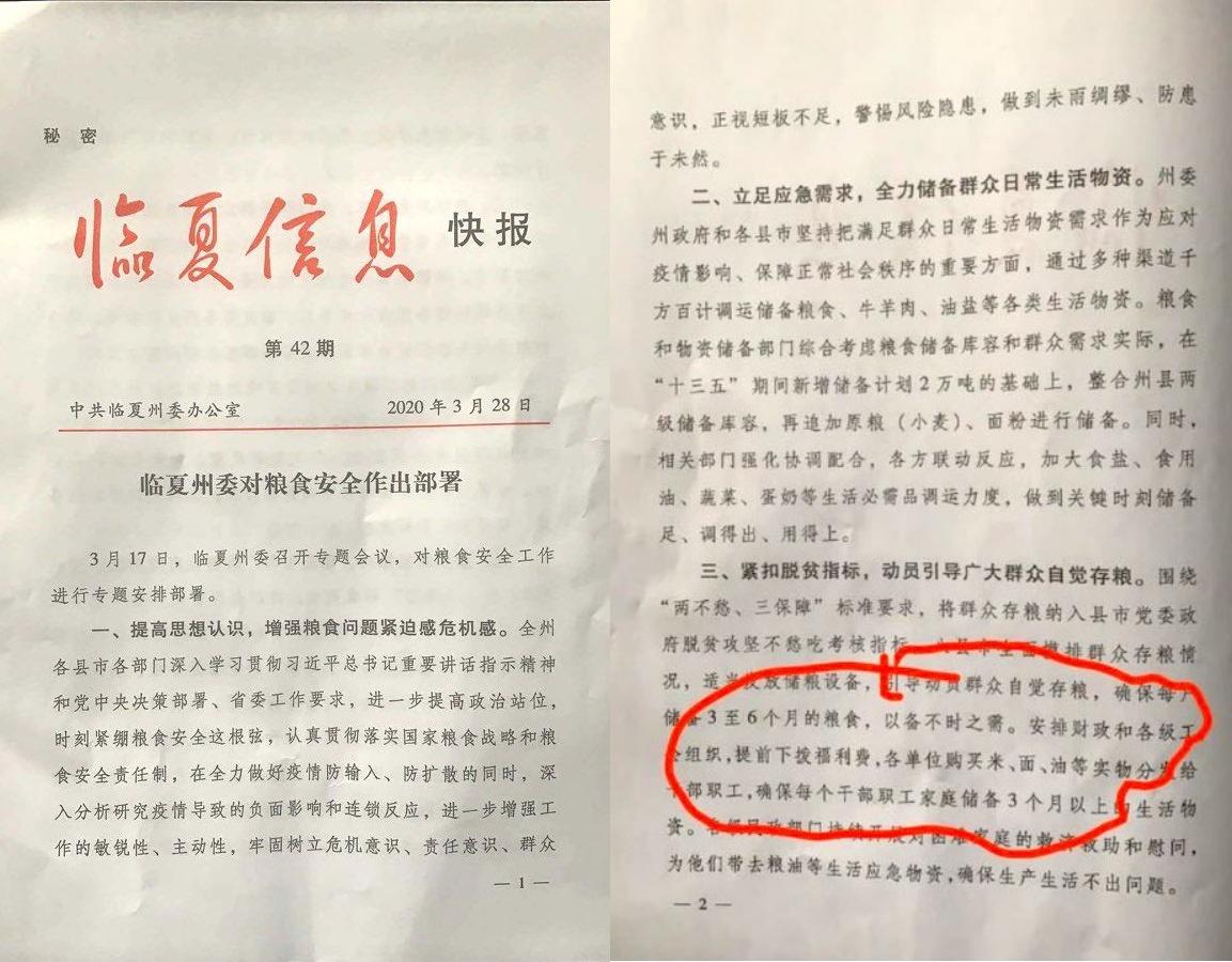 甘肃临夏州政府发布秘密公文提醒应开始囤粮以备不时之需。(图片来源:推特/看传媒合成)