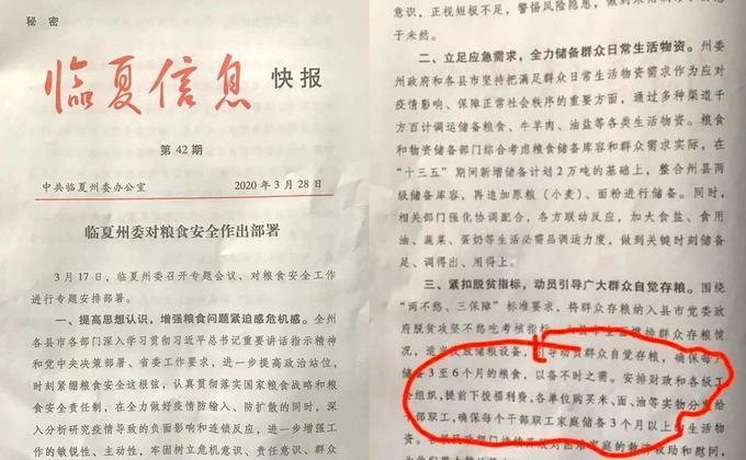 甘肅臨夏州政府發佈祕密公文提醒應開始囤糧以備不時之需。(圖片來源:推特/看傳媒合成)