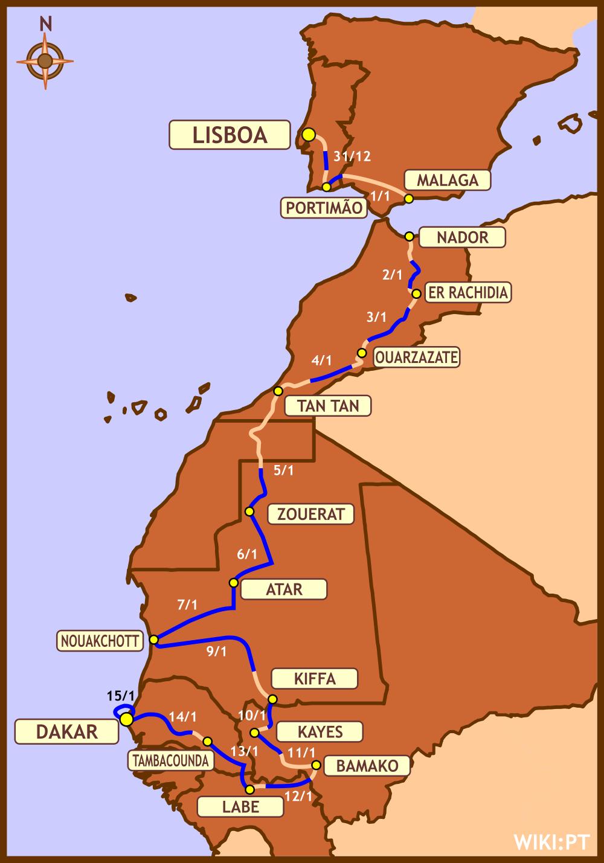 达喀尔拉力赛路线图